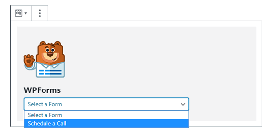 Selecting the correct form from the WPForms dropdown