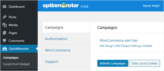Refresh your campaigns list in the WordPress dashboard