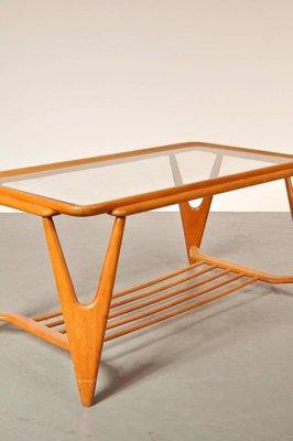 table basse en bois et en verre italie 1950s