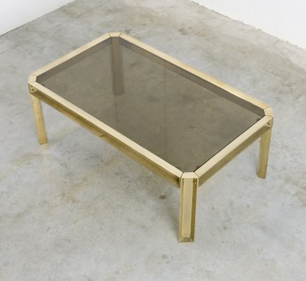 solid brass smoked glass coffee table 1970s
