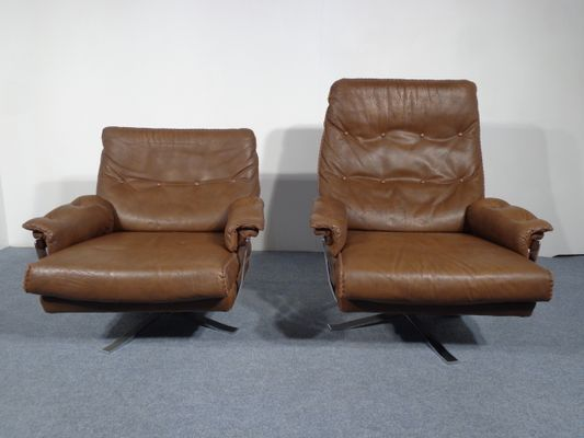 swivel lounge chairs book shelf chair swedish leather by arne norell for vatne mobler set of 2 1