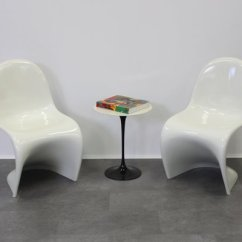 Vernon Panton Chair Red High Back Cream White Chairs By Verner For Horn 1989 Set Of 2 1