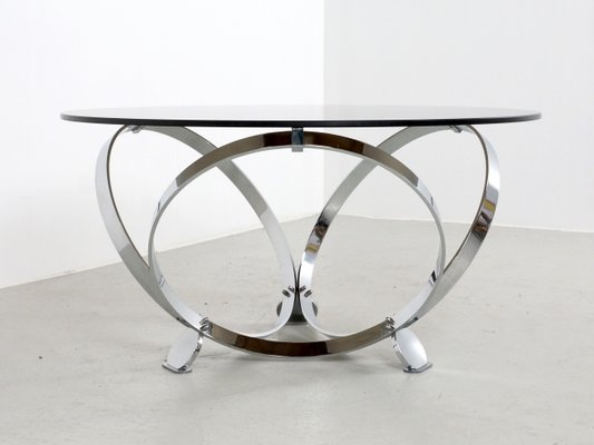 chrome and glass round coffee table by knut hesterberg 1970s