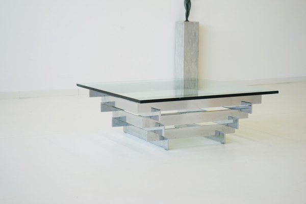 vintage glass chrome coffee table by zaruch