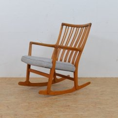 Hans Wegner Rocking Chair Wooden Stool Vintage Ml 33 By J For Mikael Lauersen 1