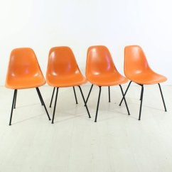 Orange Side Chair Cheap Universal Covers For Sale Vintage Chairs With H Bases By Charles Ray Eames Herman Miller