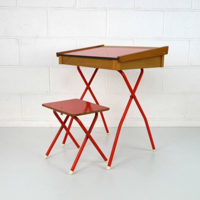 red childrens desk chair modway office chairs vintage children s and stool 1970s set of 2 for sale at