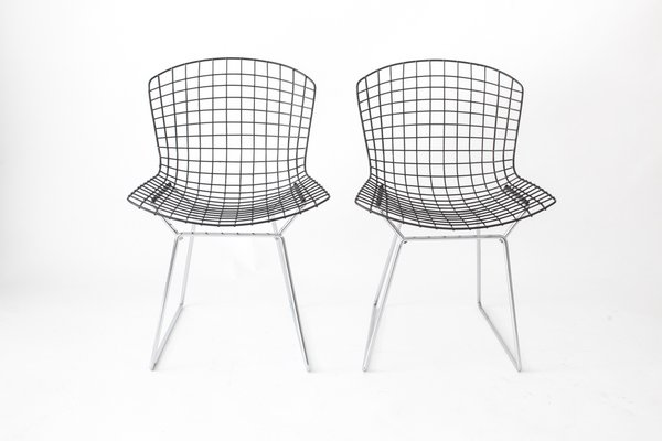 black wire chair cheap patio chairs vintage with seats chromed bases by harry bertoia for knoll set