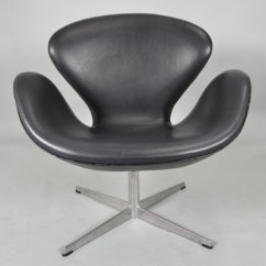 Arne Jacobsen Swan Chair Counter Height Mid Century Black Leather By For Fritz Hansen 1