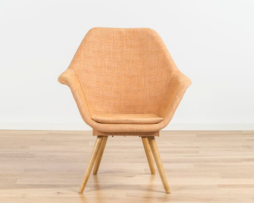 orange bucket chair white resin by miroslav navratil 1960s for sale at pamono 1