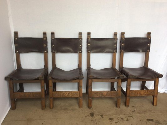 sling chairs for sale folding oak and leather 1920s set of 4 at pamono 1