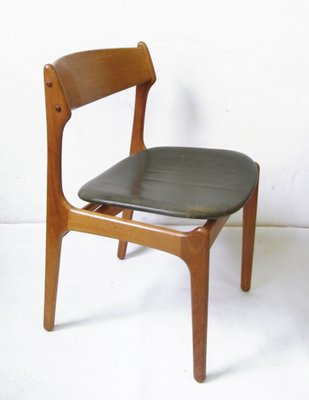 erik buck chairs vintage wood folding teak dining chair with genuine leather by buch for o d mobler 1957 1