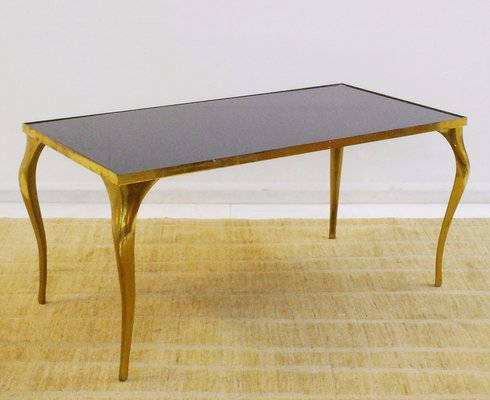Mid Century Brass Black Glass Coffee Table For Sale At Pamono