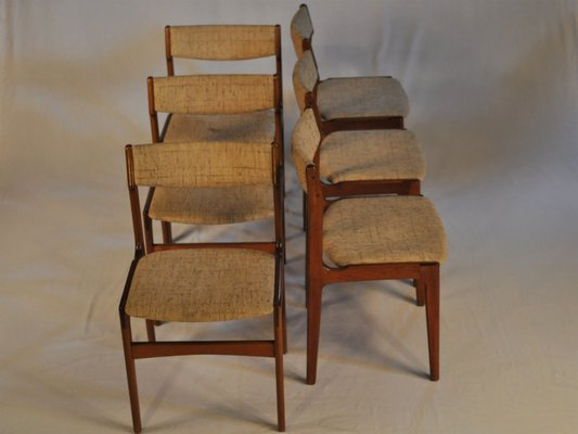 dining chairs fabric personalized childrens rocking teak by erik buch 1960s set of 6 for sale