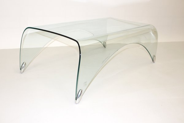 vintage glass coffee table by massimo iosa ghini for fiamm