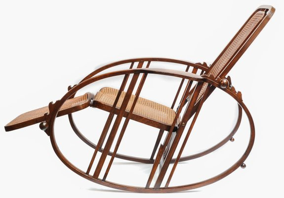 rocking chair footrest wicker rattan and ottoman vintage with by antonio volpe for sale at pamono 1