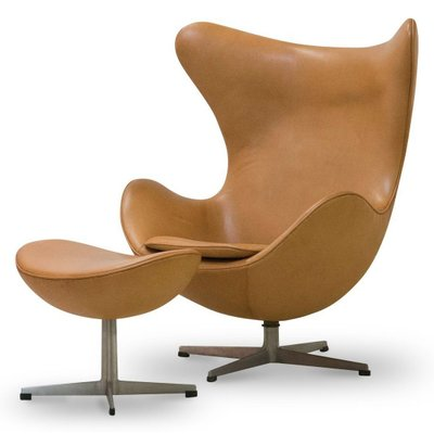 jacobsen egg chair leather cool indoor hanging chairs and ottoman in cognac by arne 1964 for 1