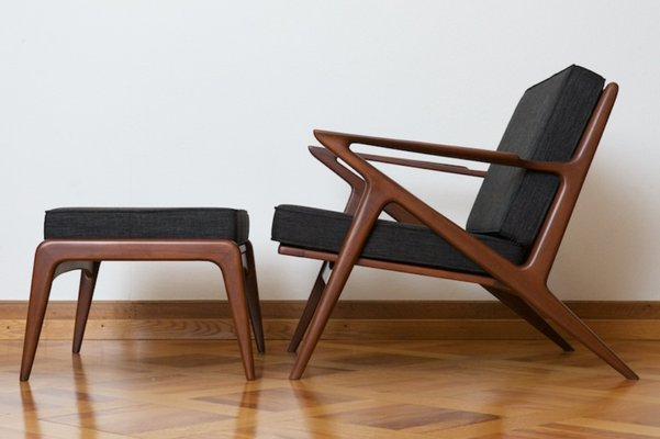 chair design bangkok accent yellow and blue z with ottoman in teak by poul jensen for haslev 1957 1