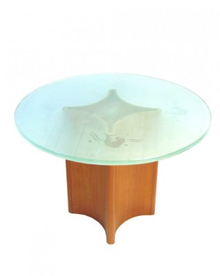 round frosted glass iluminated coffee table with teak foot 1950s