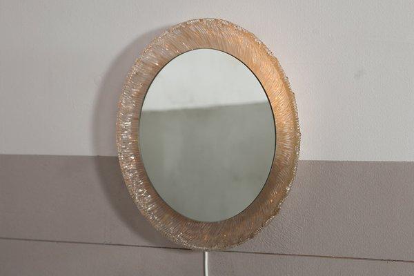 Miroir Soleil Rond Retro Eclaire Vintage De Hillebrand En Vente Sur Pamono