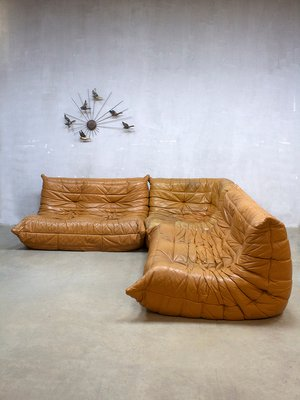 70s sofa right arm sectional vintage leather togo by michel ducaroy for ligne roset 1970s 1