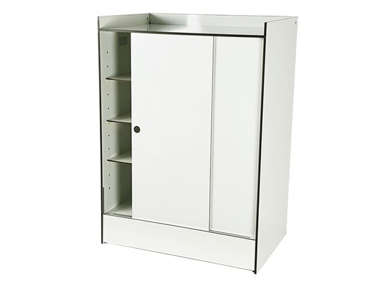 meuble de rangement avec etageres et portes coulissantes en plastique lamine blanc pour la rinascente italie 1960s