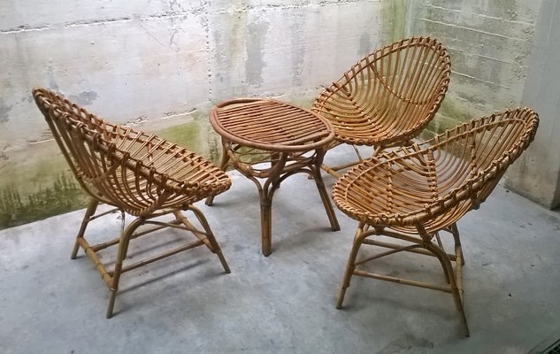 rattan table and chairs danish dining uk italian chair set from bonacina 1950s for sale at pamono