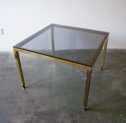 table basse mid century en laiton verre