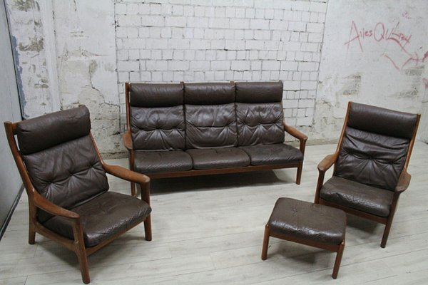teak living room furniture lodge set from thams 1960s for sale at pamono 1