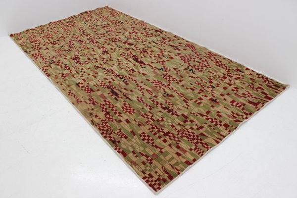 tapis vintage a motif geometrique 1950s