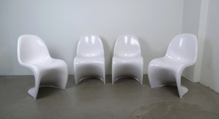 vernon panton chair outdoor folding parts white chairs by verner for vitra 1971 set of 4 1