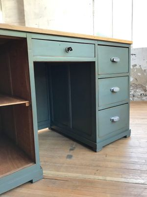 bureau d atelier vintage en noyer 14