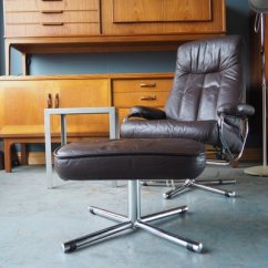 Leather Swivel Recliner Chair And Stool Wheelchair In Tagalog Mid Century Brown Reclining Footstool From Skoghaug Industri 2