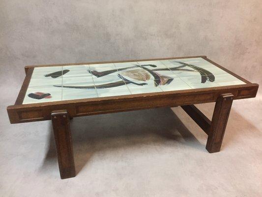 table basse vintage en ceramique et chene par juliette belarti