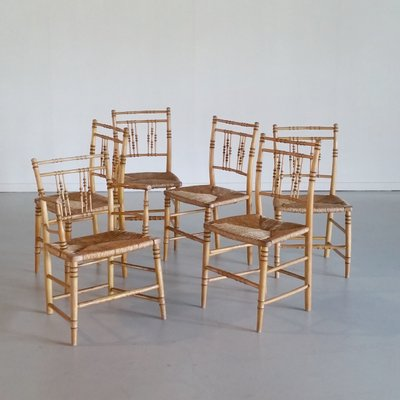 bamboo chairs faux leather club chair 19th century set of 6 for sale at pamono 2
