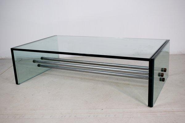 table basse rectangulaire en verre 1970s