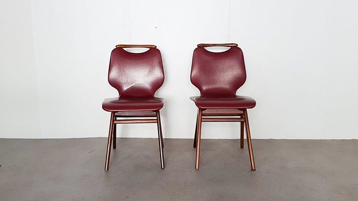 faux leather dining chairs chair covers at ikea dutch teak 1960s set of 2 for sale