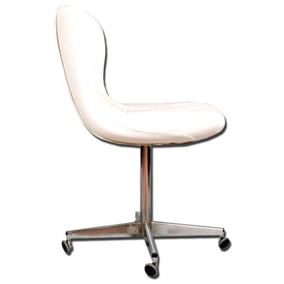 revolving easy chair high top patio chairs and table vintage in chromed steel white leather for 2