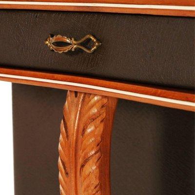 table console mid century en merisier et cuir marron