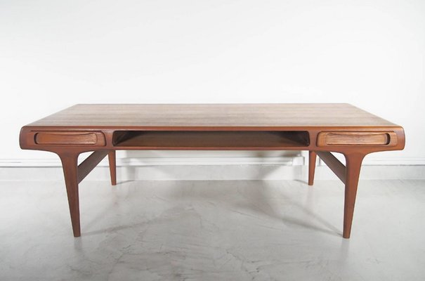 grande table basse scandinave moderne en teck 1960s