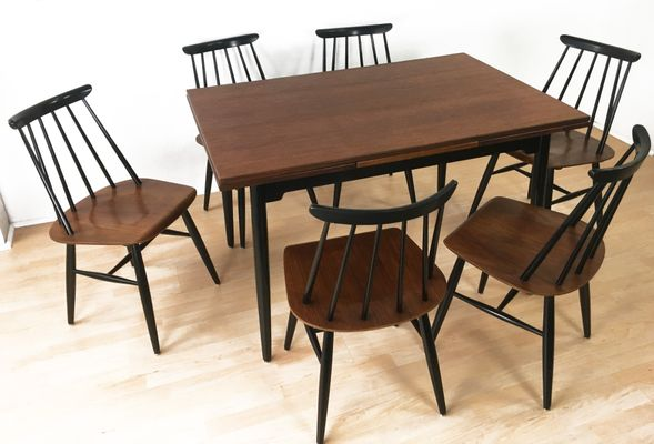 table and 6 chairs drop leaf kitchen 2 dining by ilmari tapiovaara for asko 1960s