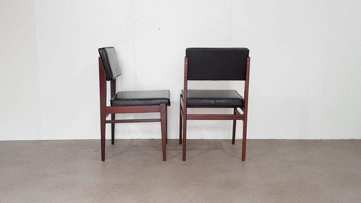 chaises de salle a manger en faux cuir noir de topform 1950s set de 2