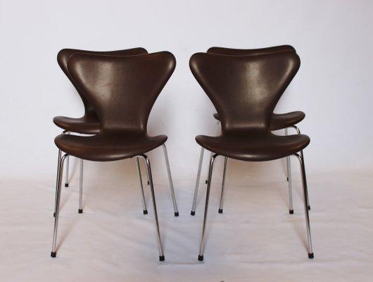 dark brown leather chair desk pillow model 3107 chairs by arne jacobsen for fritz hansen 1967 set