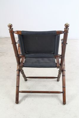 bamboo folding chair man cave hand stitched leather and faux chairs 1950s set of 2