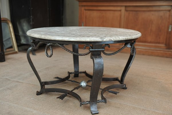 vintage iron coffee table with marble top 1940s