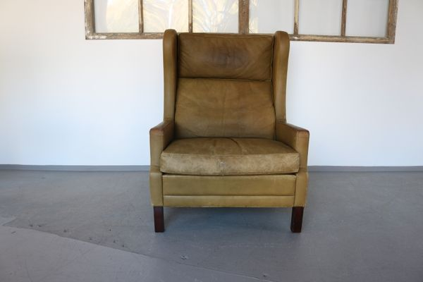 leather wingback chairs steel chair joints vintage by georg thams 1960s for sale at pamono 1