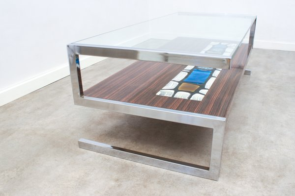 s shaped ceramic tiled coffee table from de nisco 1960s