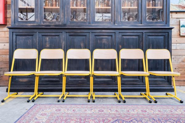 yellow chairs for sale best dorm lounge vintage metal set of 6 at pamono 1