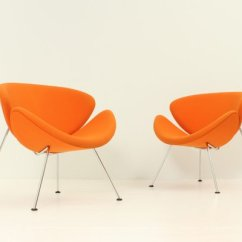 Orange Slice Chair With Lumbar Support Chairs By Pierre Paulin For Artifort 1970s Set Of 2 1