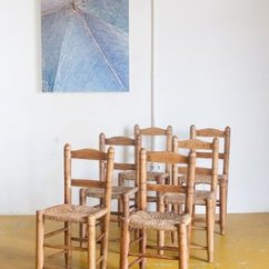 Handmade Wooden Chairs Small Desk And Chair Set Spanish 1940s Of 6 For Sale At Pamono 1